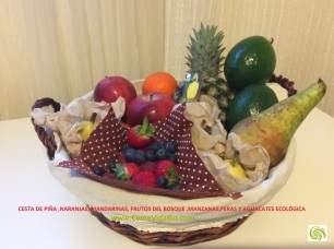 Cesta de Piña, Manzanas ,Naranjas,Aguacates, Frutos del Bosque, Naranjas, Mandarinas Bio 4